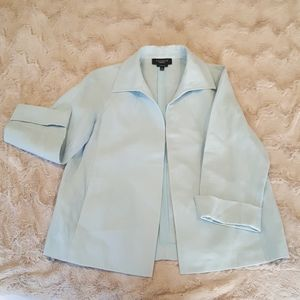 Talbots pure Irish linen sky blue jacket sz SMALL